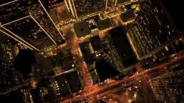 Aerial night vertical view of Skyscraper lights, USA — Stock Video
