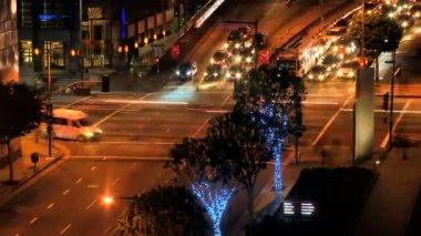 Time lapse Urban City Night Traffic — Stock Video