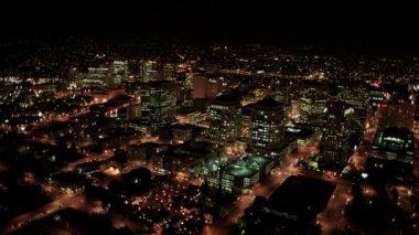 Aerial night illuminated cityscape, North America — Stock Video