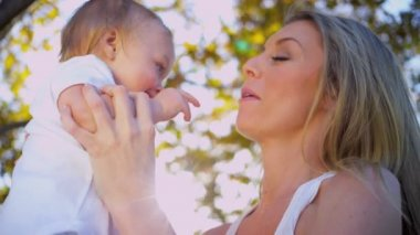 Mother and Baby Fun Outdoors — Stock Video