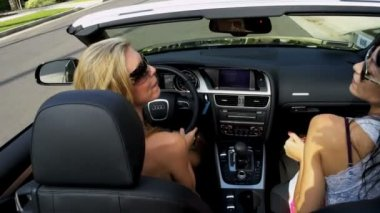 Blonde and Brunette Girls in Luxury Car — Stock Video