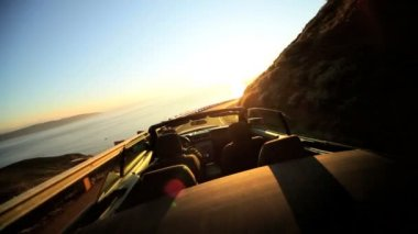 Open Top Cabriolet Driving Winding Coastal Road — Stock Video