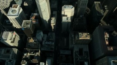 Aerial vertical view of metropolis skyscrapers, USA — Stock Video