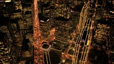 Aerial night view of skyscrapers and streets, Metropolis, USA — Stock Video