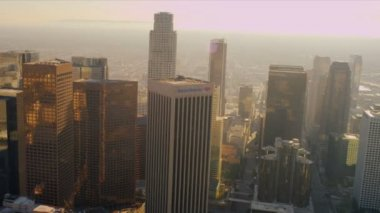 Aerial view of city heat haze, Los Angeles, USA — Stock Video