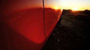 Elegant Cabriolet Parked Hillside — Stock Video