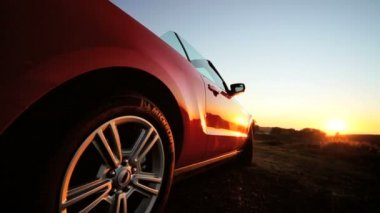 Open Top Cabriolet Parked Sunset — Stock Video