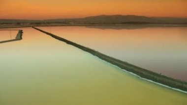Aerial view of salt ponds a natural restoration project — Stock Video