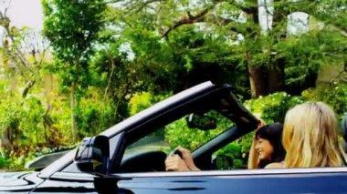 Caucasian Girls in Luxury Cabriolet — Stock Video