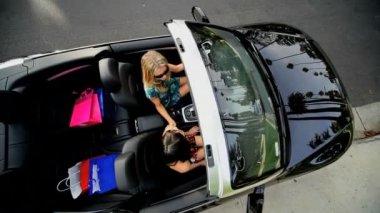 Girlfriends Shopping Trip Luxury Car — Stock Video