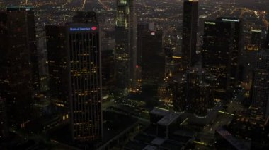 Aerial view at dusk of financial Centre, Los Angeles, USA — Stock Video