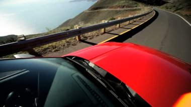 Cabriolet Driving Pacific Highway — Stock Video