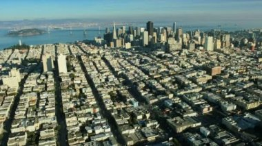 Aerial landscape view of the districts of San Francisco, USA — Stock Video