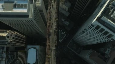 Aerial vertical view of rooftop skyscrapers, USA — ストックビデオ