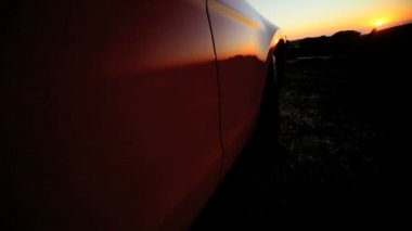 Cabriolet Convertible Hillside at Sunset — Stock Video
