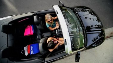 Wealthy Girls Convertible Luxury Shopping — Stock Video