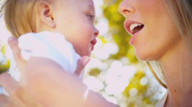 Mother and Smiling Baby in Close up — Stock Video