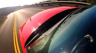 Cabriolet Car Driving Coastal Highway — Stock Video