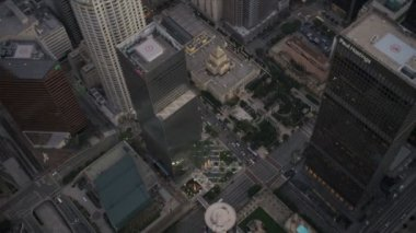 Aerial view of downtown city skyscrapers LA, USA — Stock Video