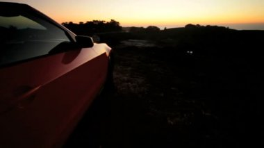 Luxury Convertible Car Parked Dusk — Stock Video