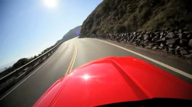 Cabriolet Driving Winding Coastal Road — Stock Video