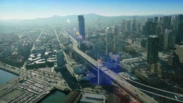 Aerial view of the Oakland Bay Bridge, San Francisco, USA — Vidéo