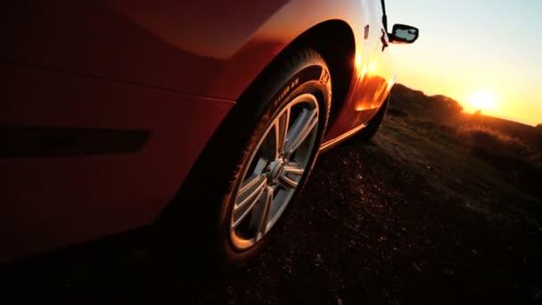 Luxury Convertible Car Parked Sunset — Vidéo