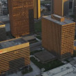 Aerial view of downtown city buildings, LA, USA — Stock Video