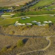 Aerial view of coastal golf course, USA - Stock Photo