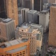 Stock Video: Aerial rooftop view of helipads, Los Angeles, USA