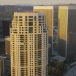 Aerial sunset city view of financial buildings, LA, USA — Stock Video #23717131