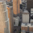 Stock Video: Aerial rooftop view of skyscrapers, road traffic, Los Angeles, USA