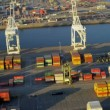 Aerial of ship container terminal, USA — Stock Video