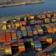 Aerial view of container ship dockside, USA - Stock Photo