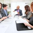 Multi Ethnic Business Team Reacting Video Conference Good News - Stockfoto
