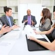 Multi Ethnic Business Team Unwelcome News Video Conference - Foto Stock