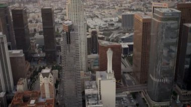 Aerial view of city skyscrapers, Los Angeles, USA — Stock Video