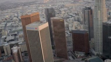 Aerial view of downtown skyscrapers, Los Angeles, USA — Stock Video