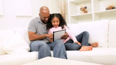 African American Father Daughter Home Wireless Tablet — Stock Video