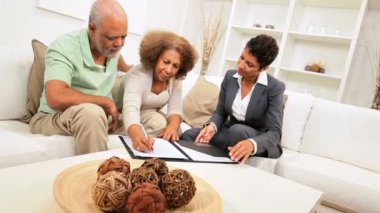 Elderly African American Couple Home Financial Meeting — Stock Video