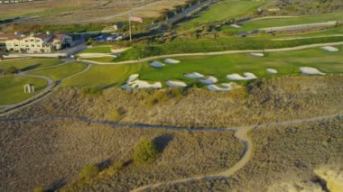 Aerial view of coastal golf course, USA — Stock Video