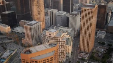 Aerial rooftop view of helipads, Los Angeles, USA — Vídeo Stock