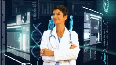 Female Doctor Virtual Medical Studio Environment — Stock Video