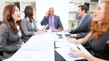 Successful Multi Ethnic Business Team Congratulations — Stock Video