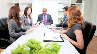 African American Businessman Office Team Meeting — Stock Video