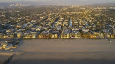 Aerial coastal suburban homes and city view, Santa Monica, Los Angeles, USA