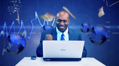 Ethnic Executive Success Virtual Business Environment — Stock Video