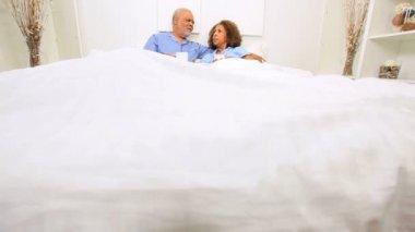 Elderly Ethnic Seniors Breakfast Bedroom — Stock Video
