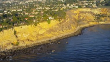 Aerial view of cliff top homes along highway 1, Pacific ocean, Santa Monica, California, USA