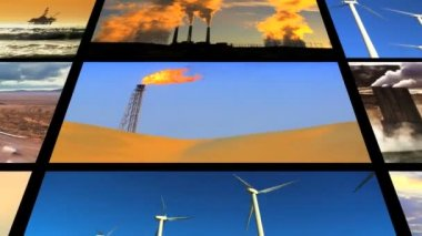Montage Fossil Fuel Clean Energy Contrast — Stock Video